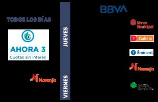Jueves de Galicia, Banco Municipal, BBVA y Naranja o Viernes de Banco Santa Fe